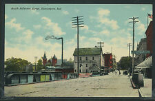 IN Huntington LITHO 1910's SOUTH JEFFERSON STREET BRIDGE & MILL Message on Back