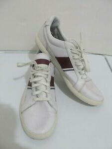 Lacoste Mens White Leather Europa Lace Up Sz 10.5 Sneakers