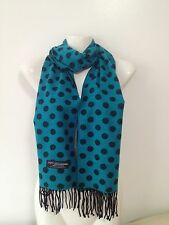CASHMERE SCARF POLKA DOT DESIGN COLOR BLUE SUPER SOFT UNISEX
