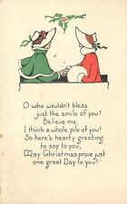 Christmas~Sunbonnet Ladies Clasp Hands~White Muff~Bless Your Smile~Art Dec0