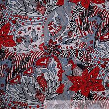 BonEful Fabric FQ Cotton Quilt B&W Red Black Heart Art Zoo African Animal Flower