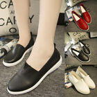 New Ladies Leather Slip On Pumps Women Casual Flats Training Shoes Loafers
