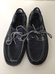 Ecco Suede Blue Moccasin Men Shoes Size Us 11.5 Eur Size 46