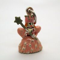 VINTAGE Sterling Silver ENAMEL 3D Charm GLINDA GOOD WITCH Wizard of Oz PENDANT
