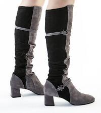 Authentic Fabi  Suede Italian Designer Boots Black / Gray New 6,7,8,10,11