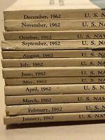 Naval Proceedings Magazine 1962 Lot Of 12 Jan-Dec