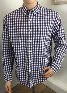 Tailored by J.CREW Men's White and Purple Gingham Oxford Large 100% Cotton