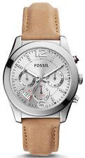 Fossil ES4080 Boyfriend Silver Dial Brown Leather Strap Chronograph Men's Watch