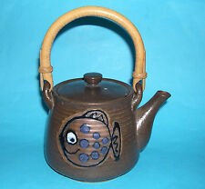 """Studio Pottery - Charming """"Fish Design"""" Cane Handle With Ribbed Body Teapot."""