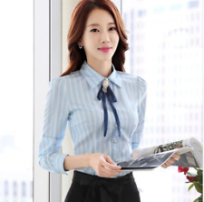 Elegant Classy Work Office Top Button Up Shirt Stripe Brooch Bow Blouse Slim