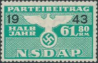 Stamp Germany Revenue WWII 1943 3rd Reich War Era Party Dues 61.80 MNG