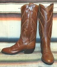 Womens Vintage Sanders Medium Brown Leather Handcrafted Cowboy Boots 7.5 M New