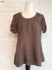 Rivamonti Cucinelli Silk Pintuck Knit Trim Blouse Short Sleeve Maple Brown XL L