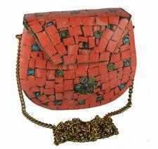 Handmade Metal Clutch Inlaid Stone Pouch Ethnic Orange Purse Gypsy Boho Bag