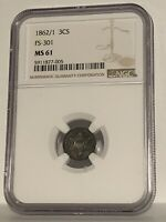 1862/1 FS-301 Three Cent Silver NGC MS61 Nicely Toned