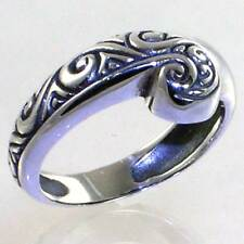 BALI DESIGNER SWIRLED FACE ENGRAVED RING__ 925 STERLING SILVER__SIZE-7