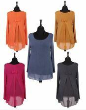 New Italian Ladies Quirky Basic Fine Knit Plain Bow Back Chiffon Insert Top 8-16