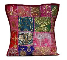 A Decorative Ethnic Maroon Embroidery Sequin Throw Pillow Cushion Cover