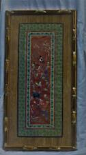 Oriental Japanese Silk Tapestry Birds & Flowers Antique Framed Embroidered