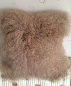 100% Real Mongolian SHEEPSKIN Wool Cushion Cover Curly Fur Pillowcase 18inX18in