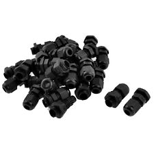 30 Pcs PG7 Waterproof Connector Gland Black for 4-7mm Diameter Cable