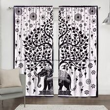 New Elephant Mandala Curtain Indian Cotton Window Drape Door Hanging Balcony Set
