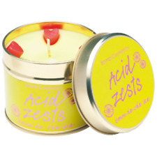 ACIDO Zest Candle in una scatola di latta gustosa limone, arancia dolce Tart lime vaniglia, caramello