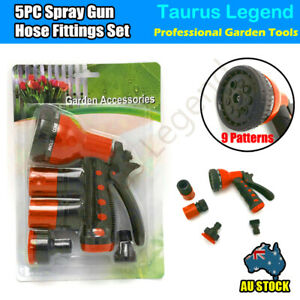 5PC 9-Pattern 12mm Garden Hose Spray Gun Water Tap Hose Fitting Set High Quality