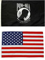 2 FLAGS POW MIA PRISONER OF WAR MISSING IN ACTION 3 X 5 AND AMERICAN FLAG USA