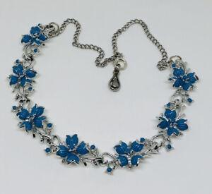 Vintage Corocraft Necklace Silver Tone Blue Enamel Flowers Collar Length Pretty