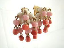 Milchglas Perlen - Cocktail Ohrclips Vintage Bohemia boho opulent Glamour coral