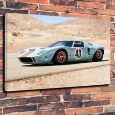 """Ford Gt 40 Gulf Oil Le Mans Printed Canvas Picture A1.30""""x20""""30mm Deep Frame 68"""