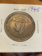 British India One Rupee 1945 Silver Coin, King George 6. Very Lustrous! TONED!