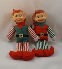 """(2) Vintage - Christmas Elf Twins. 11-1/2"""" tall - Pixie Elves, Striped Outfits"""