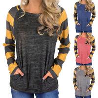 Women Long Sleeve Casual Shirt Tops Sweatshirt ONeck Loose Plaid T-Shirts Blouse