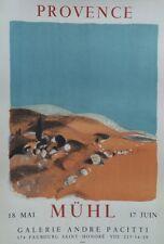 """""""PROVENCE / EXPOSITION MÜHL"""" Affiche originale entoilée Litho MOURLOT 52x70cm"""