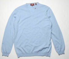 Hickey Freeman Mohogany Collection V Neck Sweater (L) Chambray 5M245218