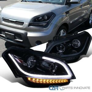 For 10-11 Kia Soul Glossy Black Projector Headlights+LED Signal Lamps Left+Right