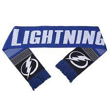 "NWT NHL 2015 REVERSIBLE SPLIT LOGO SCARF TAMPA BAY LIGHTNING 64"" by 7"""