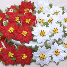 20 Mixed Red&White Mulberry Paper Christmas Poinsettias Flower Scrapbook Crafts