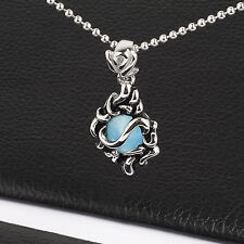Mens Unisex Stainless Steel Tribal Pendant Necklace Blue Stone L73