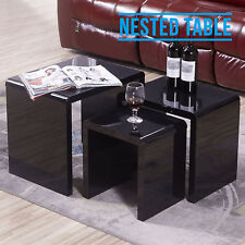 Modern High Gloss Black Nest of 3 Tables Coffee Side End Table Living Room