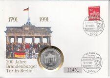 D. Numisbrief  Deutschland  10 DM Silber   Brandenburger Tor  1991