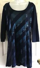 LANE BRYANT Women's Knit Top Size 18/20W, Embellished, 3/4 Slvs , long Length B6
