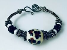 Artisan Made Bangle Bracelet Loaded with Sterling Silver & Interesting Beads c