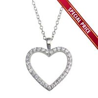 925 Sterling Silver Open Heart Pendant Necklace Rhodium Plated