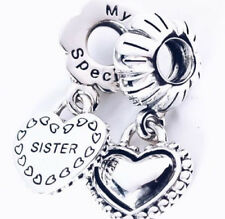 Genuine Pandora My Special Sister Double Heart Pendant Dangle Charm S925 ALE