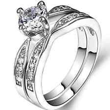 Size 4-12 Silver Wedding Engagement Ring 2-in-1 Set Pair Statement Propose Bride