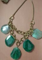 Vintage goldtone chunky heavy green gemstone bib necklace