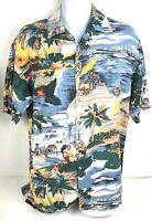 Mens Caribbean Hawaiian Shirt Large Blue Cream Tropical Palm Trees Women Hut Jet